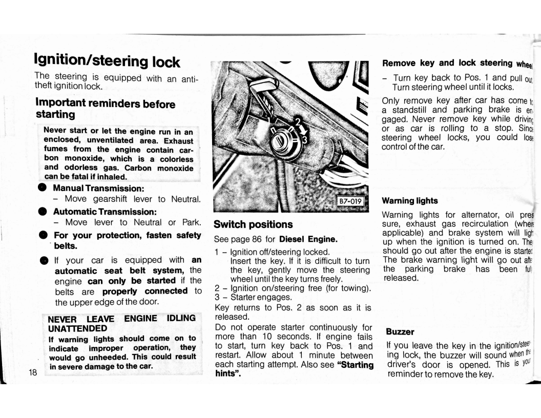 1979 volkswagen rabbit owners manual page 20