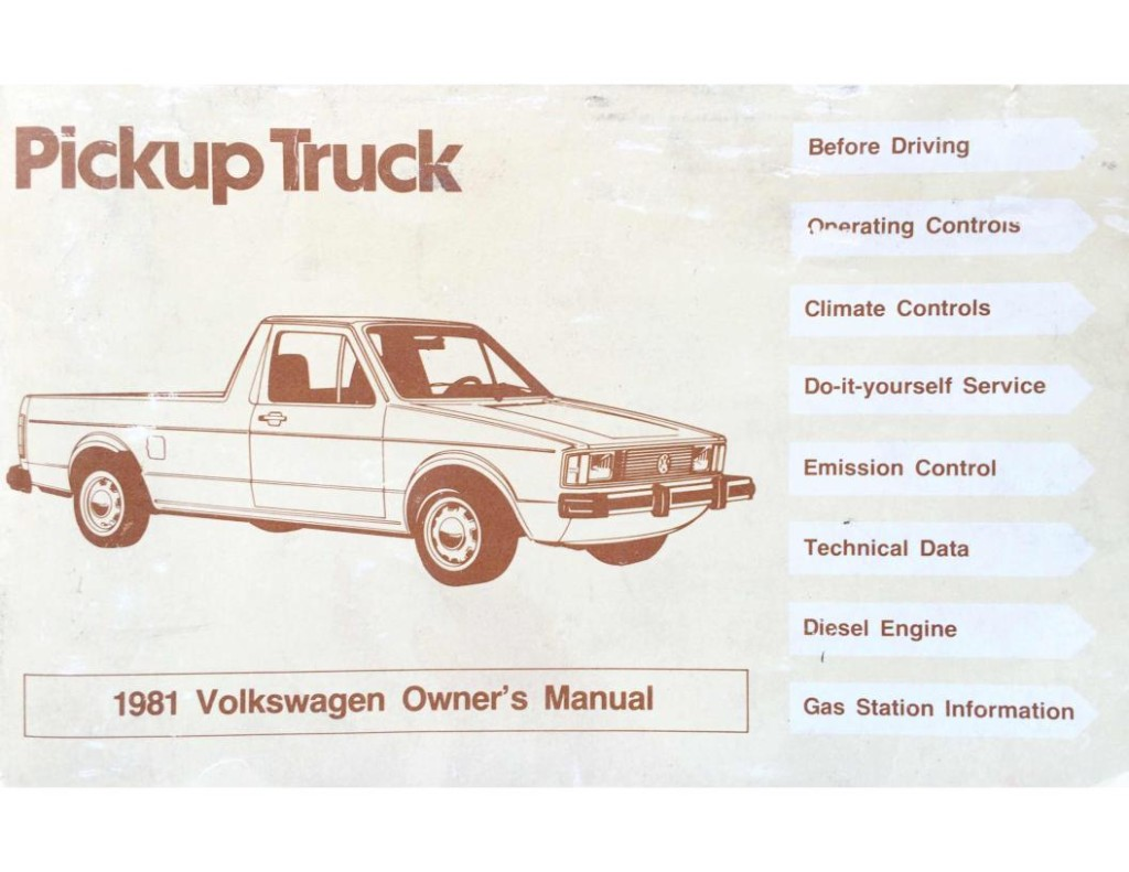 VW 1981 rabbit pickup owners manual